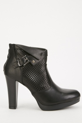 Laser Cut Heeled Ankle Boots