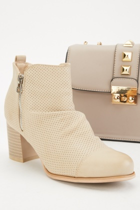 Laser Cut Ruched Ankle Boots