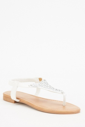 Lattice Pattern Flat Sandals