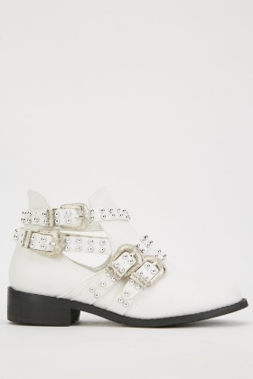 Studded Buckle Strap Boots
