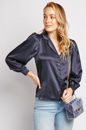 Navy Silky Shirt