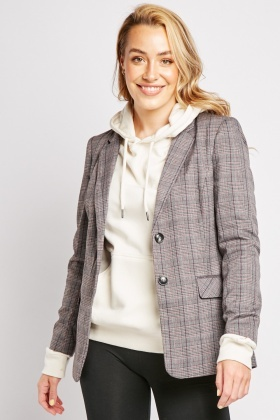 Plaid Long Line Blazer