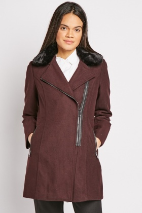 Zip Up Faux Fur Trim Coat