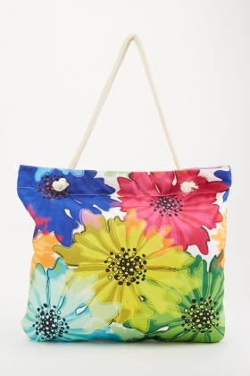 Sunflower Print Beach Bag