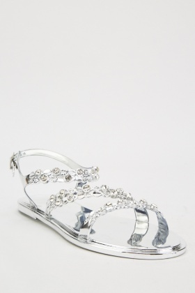 Encrusted Triple Strap Sandals