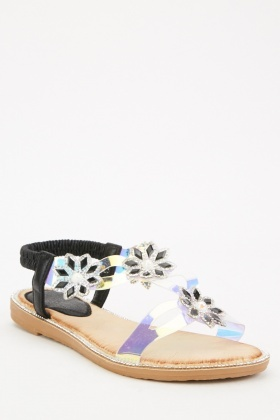 Holographic Embellished Flower Sandals
