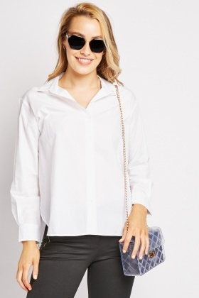 Dip Hem White Cotton Shirt