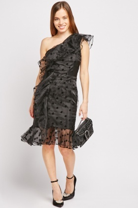 Organza Polka Dot One Shoulder Dress