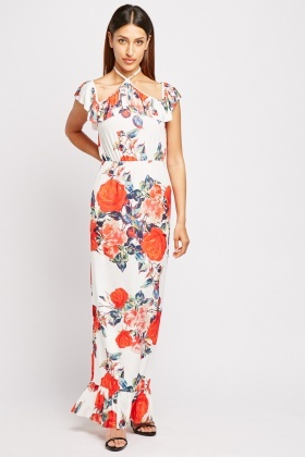 Ruffle Overlay Floral Maxi Dress