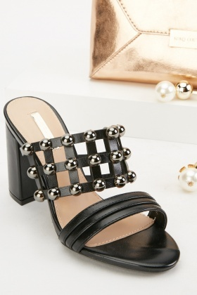 Metallic Studded Mules