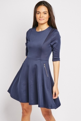 3/4 Length Sleeve Skater Dress