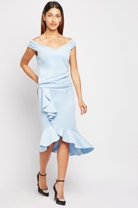 Sky Blue Ruffle Midi Dress