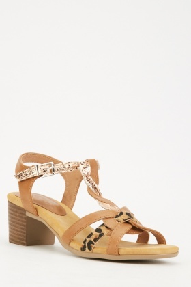 Contrasted Mixed Strappy Sandals