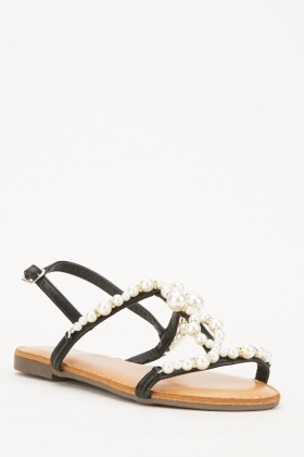Faux Pearl Embellished Sandals