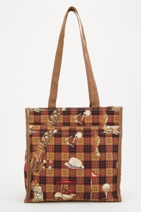 Plaid Mixed Print Shopper Bag