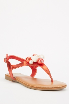 Shell Embellished Thong Sandals
