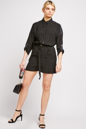 D-Ring Belted Black Playsuit