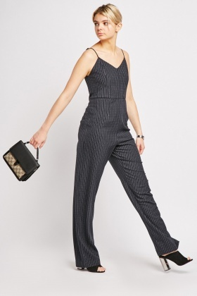 Pinstripe Straight Fit Jumpsuit