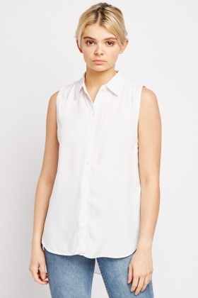 Sleeveless Plain Shirt