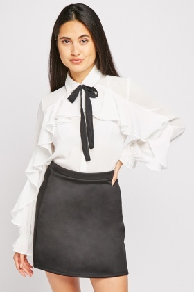 Ruffle Tie Up Front Blouse