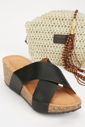 Cross Strap Wedge Sandals