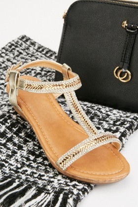 Herringbone Pattern Encrusted Sandals