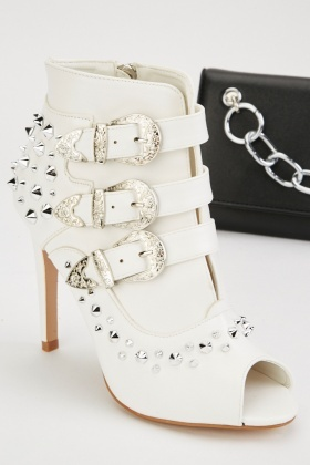 Studded Western Buckle Heeled Boots