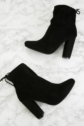 Suedette Drawstring Back Ankle Boots