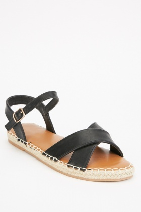 Top Stitched Criss Cross Strap Sandals