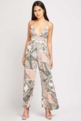 Paisley Print Strappy Jumpsuit