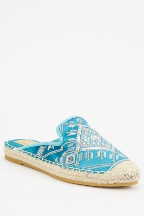 Espadrille Trim Embroidered Mules