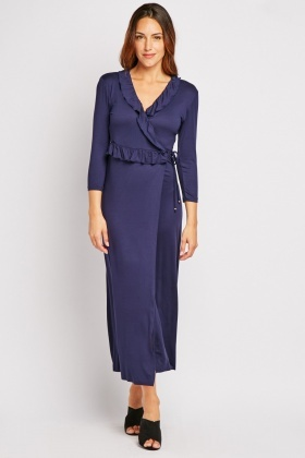 Ruffle Navy Wrap Maxi Dress