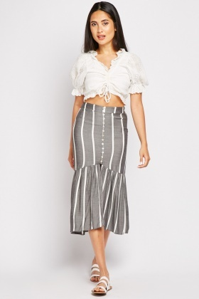 Striped Slit Front Skirt