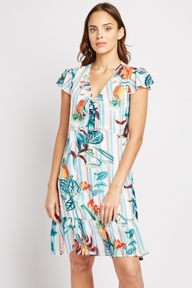Cap Sleeve Tropical Print Dress