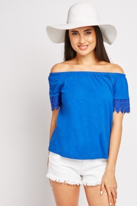 Crochet Sleeve Trim Off Shoulder Top