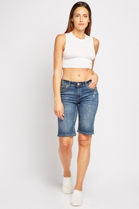 Distressed Denim Long Line Shorts