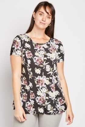 Large Floral Round Neck Top