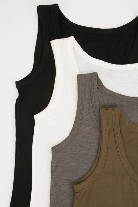 Pack Of 4 Scoop Neck Basic Tops