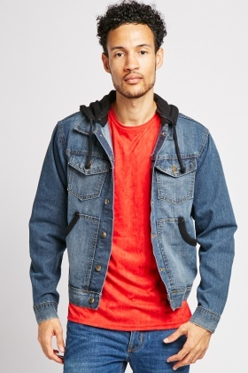 Pocket Front Denim Fleece Jacket