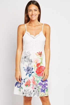 Crochet Bodice Floral Skater Dress