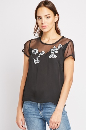 Mesh Embroidered Trim Top