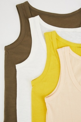 Set Of 4 Plain Tank Tops