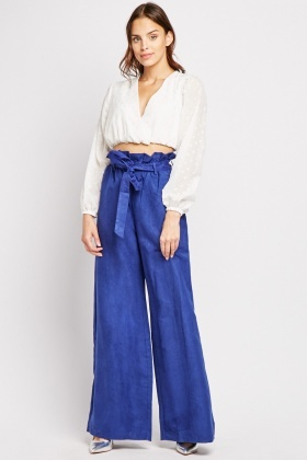 Suedette Wide Leg Trousers