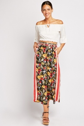 Floral Stripe Side Culottes