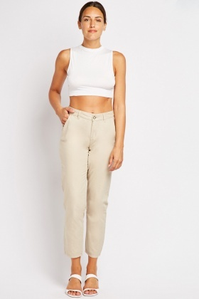 Mid Rise Ankle Grazer Chino Trousers
