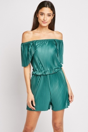 Pleated Off Shoulder Playsuit