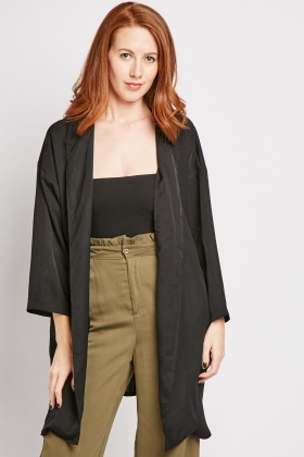 Lapel Front Long Line Jacket