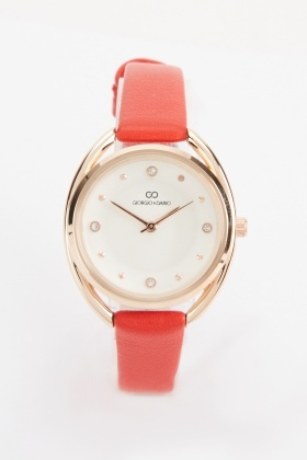 Faux Leather Skinny Strap Ladies Watch