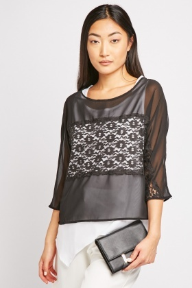 Lace Panel Sheer Blouse