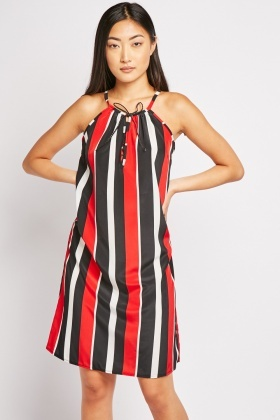Tie Up Front Stripe Shift Dress